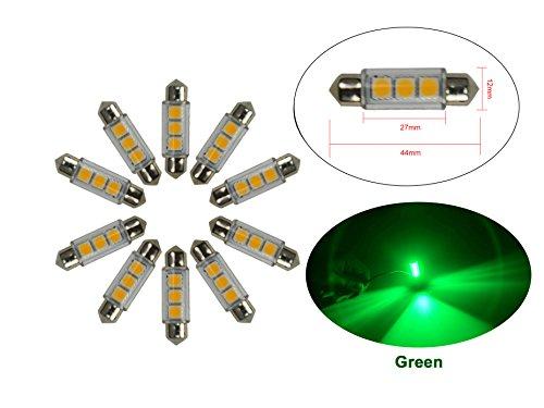 Njytouch 10 x 43 mm 44 mm 3smd 5050 211 Vert Festoon Dome carte intérieur ampoules LED DC 12 V