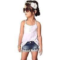 Vovotrade® pantaloni vestito + jeans per bambini neonate Outfits Set Tank Top T-shirt