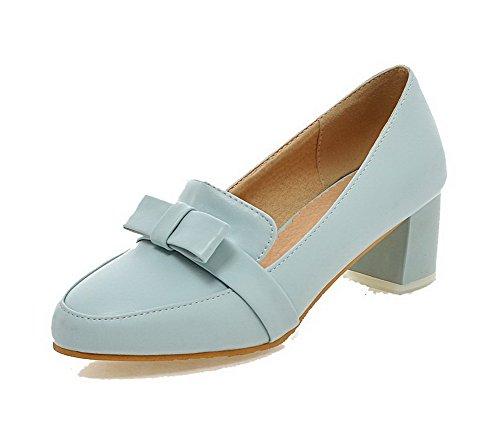 VogueZone009 Damen Rein Weiches Material Mittler Absatz Ziehen Auf Rund Zehe Pumps Schuhe Blau