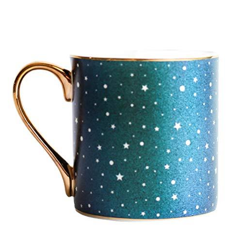 Europäische Kreative Sterne Malerei Gold Bone China Becher Keramik Büro Kaffeetasse Große Kapazität Wassertasse Geschenk Gold Bone China