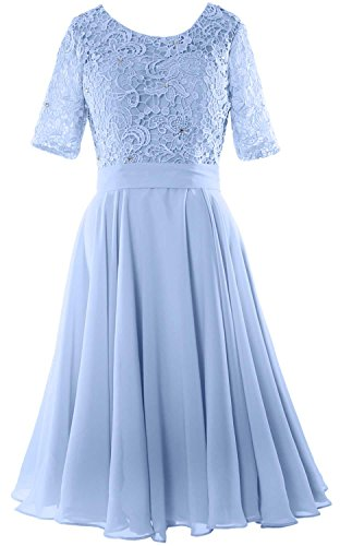 MACloth Elegant Short Mother of the Bride Dress Half Sleeves Lace Formal Gown Sky Blue