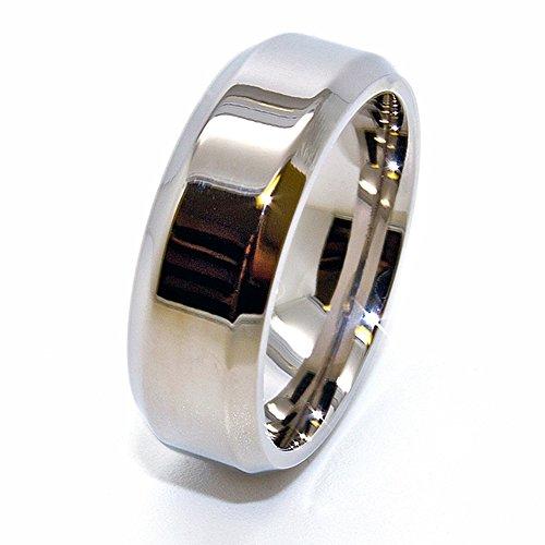 7mm Polished Titanium Wedding Band with Beveled Edges (See Listing for Sizes)