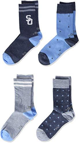 s.Oliver Socks Jungen S20555, Blau (Jeans Melange 5700), 39 (39/42), 4er Pack