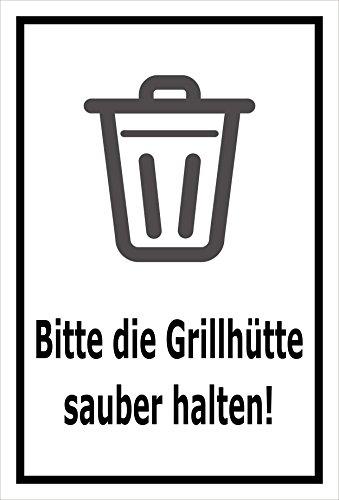 Aufkleber - Bitte die Grillhütte sauber halten - 45x30cm – S00359-020-A +++ in 20 Varianten erhältlich