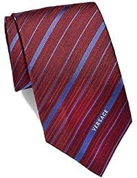 Versace Men Multi Striped Woven Silk Necktie