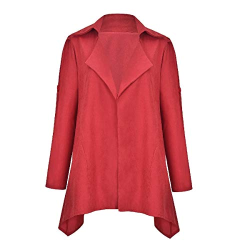 CuteRose Womens Comfort Slimming Parka Outwear Lounge Trench Coat Outwear Red XL -