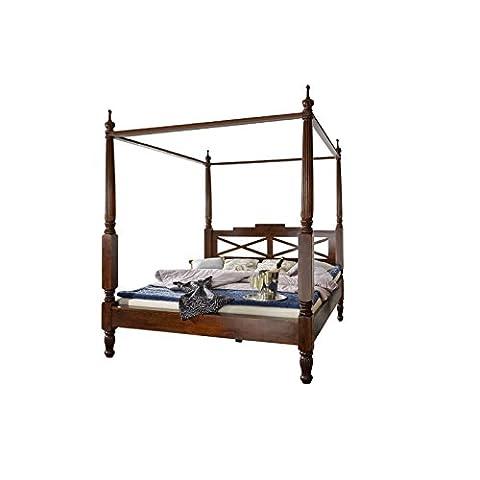 SAM® Design Himmelbett Fernando aus Sheesham, Holzbett in walnussfarben, verspieltes Design, widerstandsfähige Oberfläche, Bett ist ein Unikat, Doppelbett im Landhaus-Stil, 180 x 200 cm [53256872]