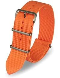 Davis - Bracelet Montre Nato Nylon Orange 20mm Haute Qualité
