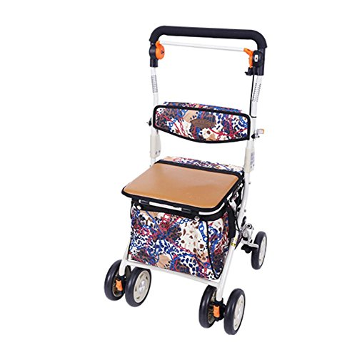 XYLUCKY 002B Deluxe Leichte ältere Walk & Rest Folding 4 Wheel Shopping Trolley mit Sitz und Sicherheitsbremse (Vier-rad-rollator)