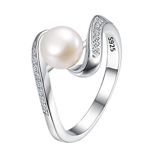 Clearine Damen 925 Sterling Silber Hochzeit Braut CZ 7MM Cream Süßwasser-Zuchtperle Seidenband Inspiriert Cocktail Ring Klar (7 Mm Seidenband)