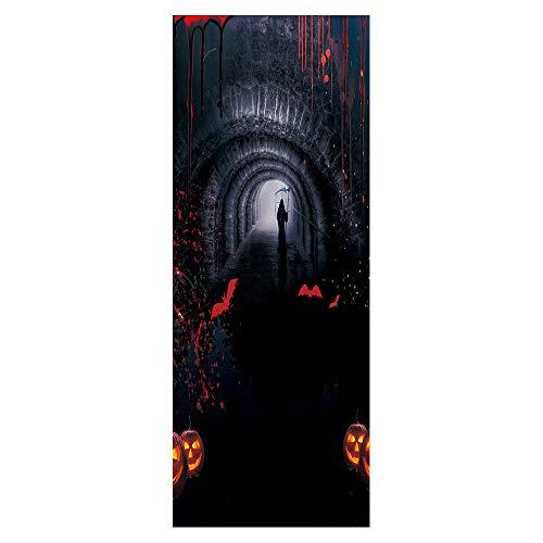 qwermt Horror Halloween Tunnelwandaufkleber 3D tür wandkunst Aufkleber Europäischen Schlafzimmer bürotür wandbild wasserdichte tür Applique Vinyl wandbild 77x200 cm (2 Abgeben Halloween)