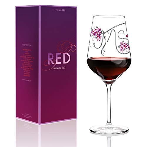 RITZENHOFF Red Rotweinglas von Ramona Rosenkranz, aus Kristallglas, 580 ml, mit edlen Platinanteilen