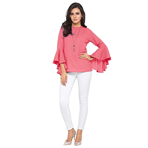Serein Women's Top (Pink Soft Crepe Georgette top with Flute/Bell Sleeves) (Small)
