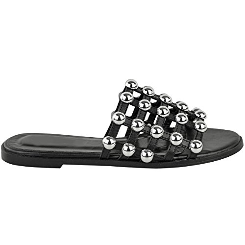 Damen Sandalen mit funkelnden Nieten - offen & flache Sohle - Gladiatoren-Design Schwarz Kunstleder