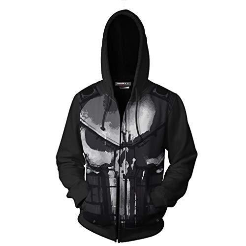 Der Comic Punisher Kostüm - MWbetsy Punisher Marvel Hoodie 3D Gedruckter Reißverschluss Kapuzenpulli Cosplay Comics Langarm Sweatshirt Cosplay Unisex Jacke Lose Kostüme,Schwarz,XXXXL