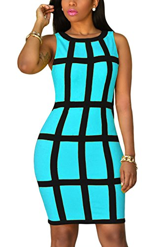 WIWIQS Womens Sleeveless Square Pattern Print Slim Fit Paket Hip Bodycon Kleid Blau L