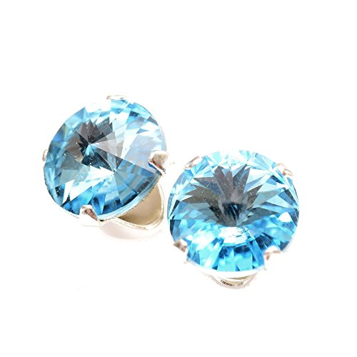 Sterling Silver stud earrings expertly made with sparkling Aquamarine blue crystal from SWAROVSKI for Women
