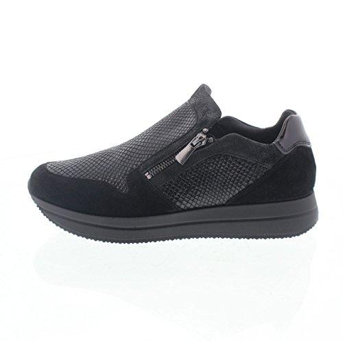 IGI & CO 67441 noir chaussures de sport sans lacets en daim zip Noir