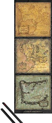1art1 Poster + Hanger: Der Herr Der Ringe Tür-Poster (158x53 cm) Maps of Middle Earth Inklusive EIN Paar Posterleisten, Schwarz