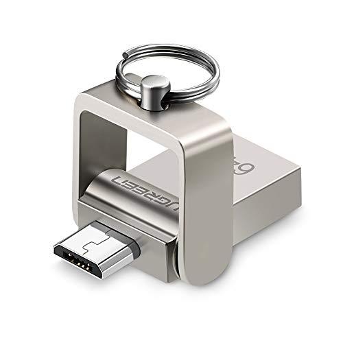 UGREEN Chiavetta USB 64 GB, 2 in 1 Micro USB MemoriaUSB PenDrive Flash Drive in Lega di Alluminio, Penna USB per Smartphone Tablet Come Samsung S7 S6 J7, Huawei P10 Lite P9 Lite, LG K10, ECC.