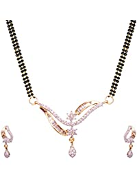 Sitashi 18 K Gold Plated Alloy And American Diamond Leaf Design Fashion Jewellery Mangalsutra Set For Women