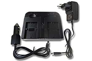 Chargeur rapide vhbw Socle avec deux compartiments et câble allume-cigare pour Sony Handycam DCR-DVD310E, DCR-DVD403, DCR-DVD403E, DCR-DVD404, DVD404E