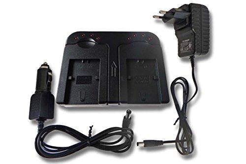 vhbw Schnellladegerät Ladegerät Ladeschale dual 2-fach inkl Kfz für Sony Handycam DCR-SR32,...