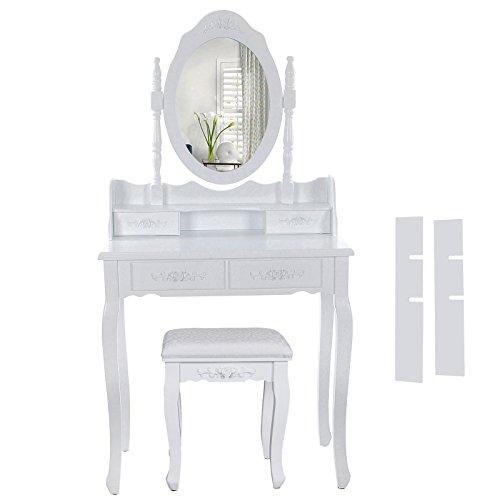 Songmics Schminktisch 4 Schubladen und Spiegel, Hocker, Holz, weiß, 75 x 40 x 145 cm RDT77F