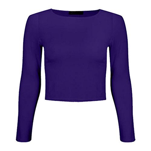 WearAll - Haut court à manches longues avec un col rond - Haut - Femmes - Tailles 36 à 42 Violet