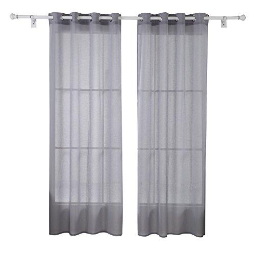 Deconovo 2er Set Vorhang Leinenoptik Ösenvorhang Transparent Voile Vorhang 175x140 cm Grau 2er set