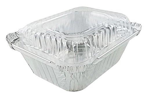 pactogo 1Lb., länglich, tief Aluminium Folie Take-Out Pfanne mit Kuppel aus durchsichtigem Kunststoff Deckel Einweg Container 14,1x 11,6x 4,1cm 2 Take Out Container