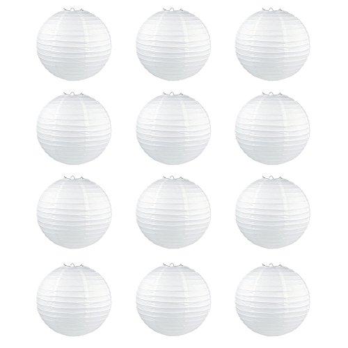 """Beverly-op Papierlaterne, 12 Stück weiße Papier Laterne Lampion Schöne Lampenschirme für Hochzeit Geburtstag Gartenparty Dekoration - Weiss 8\""""(20cm)"""