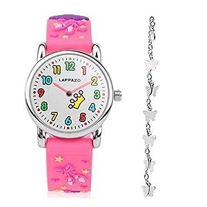 Armbanduhr Mädchen Kinderuhr Mädchen Analog 3D-Karikatur Prinzessin Kit mit Schmetterling Silberkette Geschenkkarton Geschenk für Mädchen 3-15 Jahre Alt