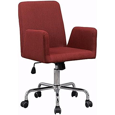 Silla roja de tela retro con base de metal y ruedas. Sillón o silla giratoria de oficina, conferencia o salas de
