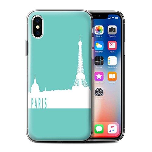 Stuff4 Gel TPU Hülle / Case für Apple iPhone X/10 / Shanghai/Lila Muster / Stadt Skyline Kollektion Paris/Türkis