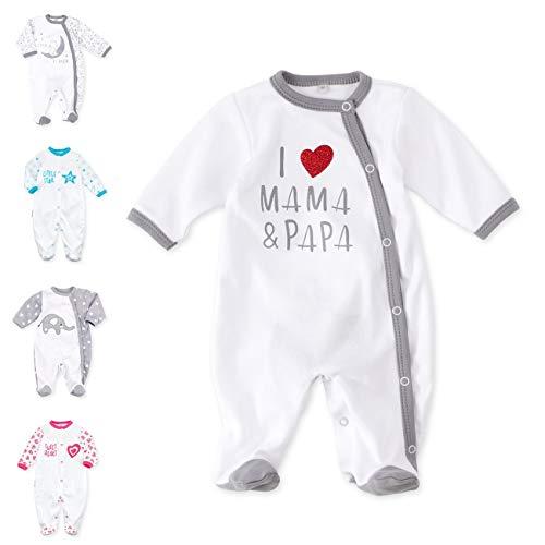 Baby Sweets Baby Schlafanzug Strampler weiß grau | Motiv: I Love Mama & Papa | Babystrampler mit Herzmotiv für Neugeborene & Kleinkinder | Größe: 9 Monate (74) ...