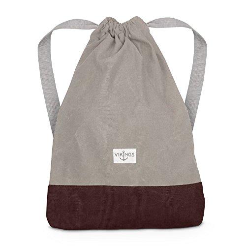 Rucksack Gym Bag Sack Turnbeutel Baumwolle Canvas Tasche Sport Frauen Männer Kinder (Beige)