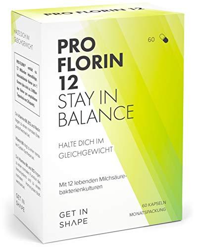 Pro Florin – Komplex aus 12 lebenden Darm-Bakterien-Kulturen (hochdosiert mit 20 Mrd. KbE) – Aufbau der Darmflora & Darmsanierung – von Get in Shape