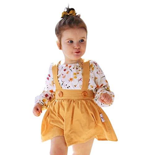 LoveLeiter Baby Kleinkindprinzessin Kleid Mädchen,Kleinkind Baby Girl Floral Print Strampler Tops + Tutu Röcke Outfits Set Baby langärmelige Blumenroben Kinder einfarbig Kleid