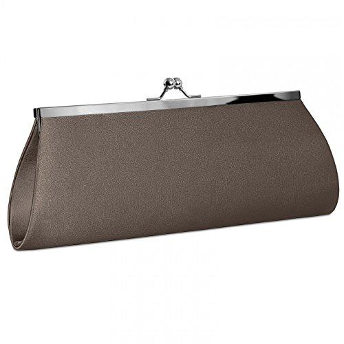 CASPAR klassische Damen Satin Clutch / Abendtasche mit elegantem Metallbügel - viele Farben - TA309 Khaki
