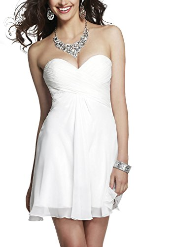 Bridal_Mall - Robe - Trapèze - Sans Manche - Femme blanc Weiß 34 Weiß