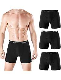 wirarpa Bóxer para Hombre Pack de 3 Algodón Calzoncillos Hombres Boxers Suave Elástico Compresión Shorts Negro