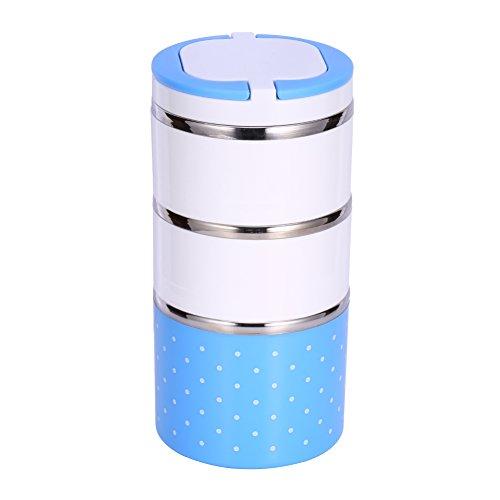 3 Schichten 1200 ml isolierte blaue Lunchbox Thermoskanne mit Edelstahl-Isolierung Warmhaltebehälter