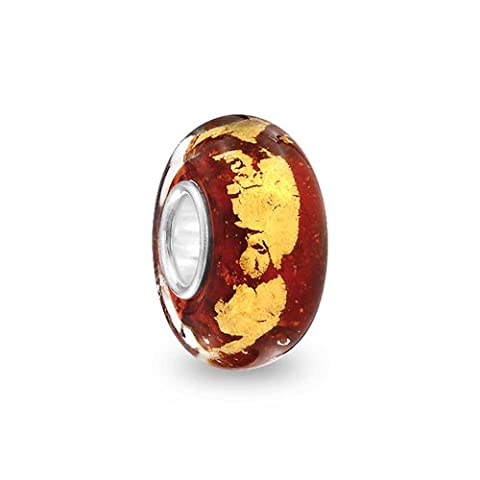 Bling Jewelry Red Gold Foil Murano glass Lampwork Round Charm Bead .925 Sterling Silver
