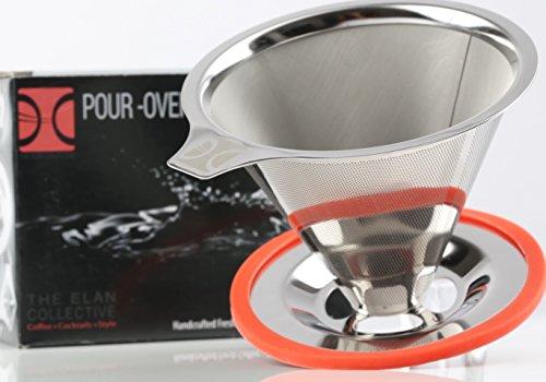 Premium 'Pour Over' Edelstahl Kaffeefilter - wiederverwendbar, papierlos, umweltfreundlich und...