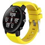 Bestow Garmin Fenix 3 Reloj GPS Silicagel Banda Suave Banda de Reloj Reloj Elegante Reloj de Pulsera de aparatos electr¨nicos Gadgets (Amarillo01)