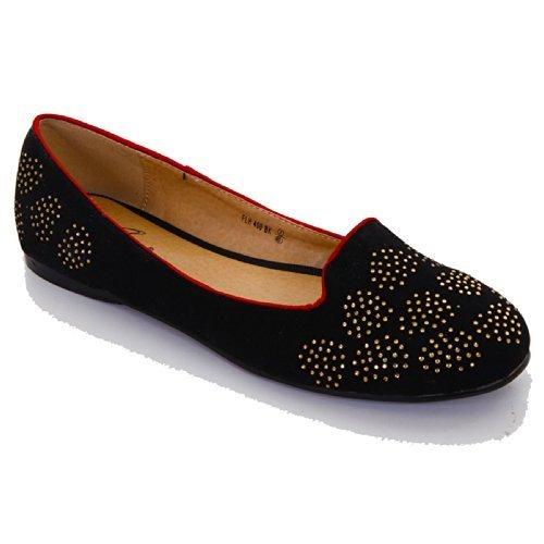 SAPHIR Damen Smart Rote Ziernaht Flache Gold Heart Strass Elegant Damen Halbschuhe Schuhe - Schwarz, 3 UK / 36 EU