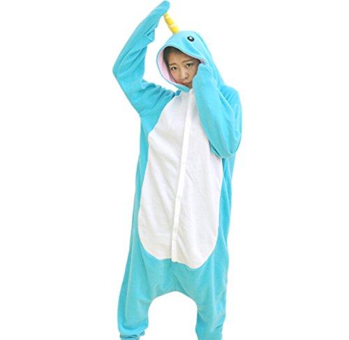 Onesies mit Kapuze Erwachsene Unisex Cospaly Schlafanzug Halloween Kostüm Narwal Geeignet für Hohe 160-175CM (Narwal Kostüme)