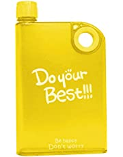Home Runner Ultra Slim Plastic Do Your Best Printed A5 Notebook Water Bottle | BPA Free Flat Portable Drinking Bottle with Hole to Hold Conveniently