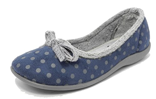 Womens Ladies Memory Foam Fur Velour Polka Dot Slippers Sleepers BLUE SIZE 5